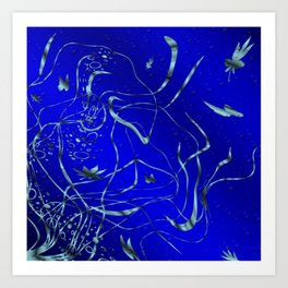 blue festive shiny metal pattern with small butterflies, Asian flowers and drops of water Art Print