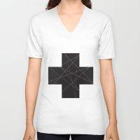 cross V-neck T-shirts featuring Cross by hyun yu