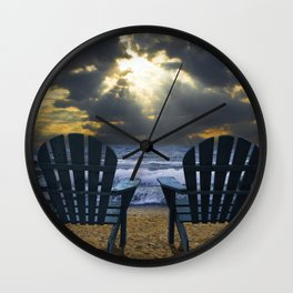 Two Adirondack Deck Chairs on the Beach with Waves crashing on the Shore Wall Clock