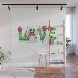 Love Musician Ghost Drummer Music Instruments  Halloween Holiday Gift Wall Mural