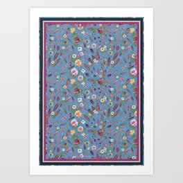 50's feathers and flowers Art Print