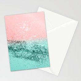 Summer Vibes Glitter #4 #coral #mint #shiny #decor #art #society6 Stationery Cards