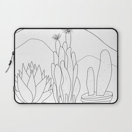 Black and White Cactus and Mountain Minimal Illustration Laptop Sleeve