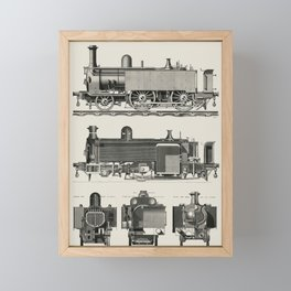 Engine train and its compartments from a technical journal The Engineer by Edward Charles Healey Framed Mini Art Print