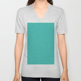 Turquoise Saturated Pixel Dust Unisex V-Neck