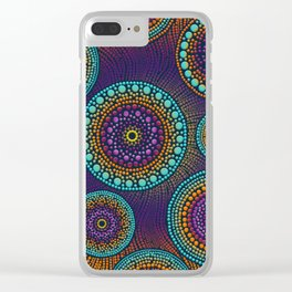 Dot Art Circles Teals and Purples #1 Clear iPhone Case