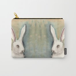 Portrait of a White Rabbit Carry-All Pouch