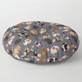 Coonhound Curl Floral Floor Pillow