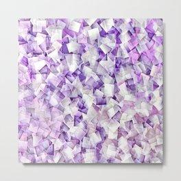 Geometric Stacks Mini Purple Metal Print