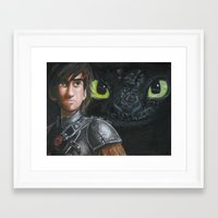 hiccup Framed Art Prints featuring Hiccup and Toothless by Meliese Reid