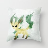 leaf Throw Pillows featuring Leaf by Melissa Smith