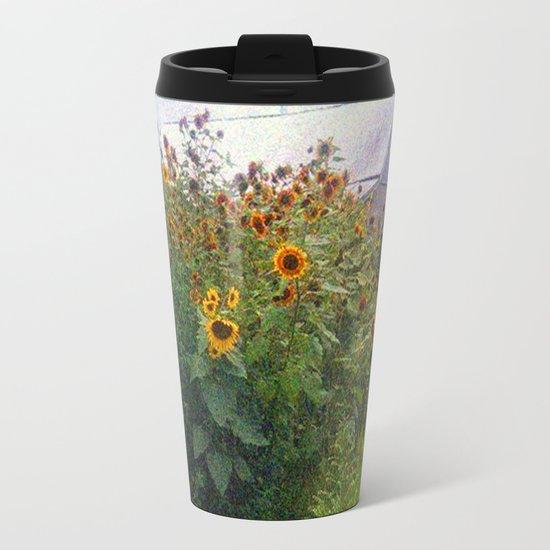 Sunflowers Overgrow the Barn Metal Travel Mug