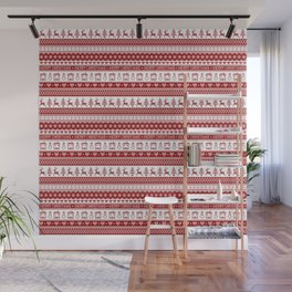 Nordic fair isle Christmas pattern Wall Mural