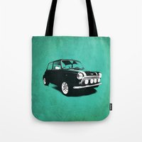 mini cooper Tote Bags featuring The Mini Cooper by Mark Rogan