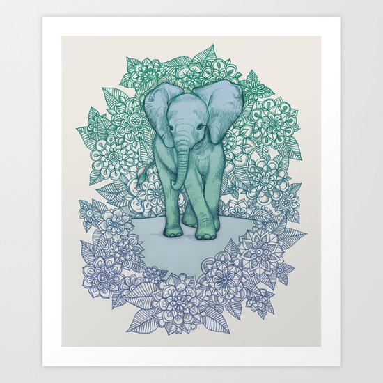 Emerald Elephant in the Lilac Evening Art Print