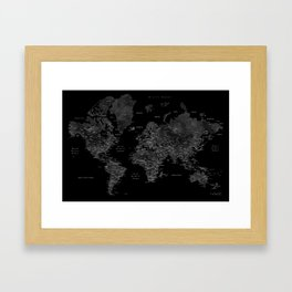 Black and grey world map with cities Framed Art Print