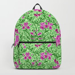 William Morris Irises, Green, Magenta and Orchid Backpack