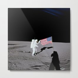 Apollo 12 - Astronaut American Flag Moon Metal Print