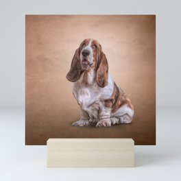 Drawing funny Basset Hound dog Mini Art Print