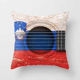 Old Vintage Acoustic Guitar with Slovenian Flag Throw Pillow