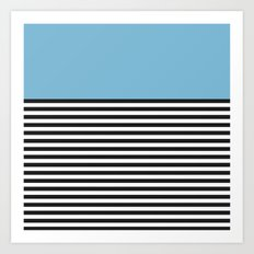 STRIPE COLORBLOCK {DUSK BLUE} Art Print