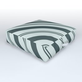 Night Watch PPG1145-7 Thick and Thin Angled Stripes on Blue Willow Green PPG1145-4 Outdoor Floor Cushion