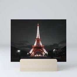 Paris Eiffel Tower Pink Night Mini Art Print