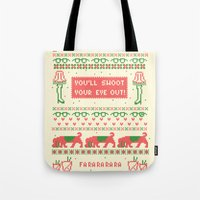 sweater Tote Bags featuring A Christmas Sweater by Sarajea