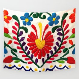 Red Mexican Flower Wall Tapestry