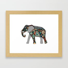 Aztec Elephant Framed Art Print