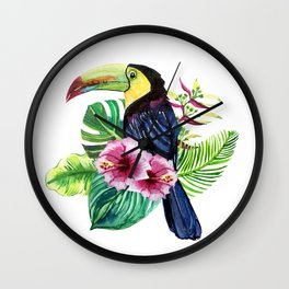 print watercolor of exotic flowers and leaves with toucan Wall Clock