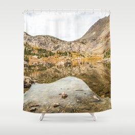 Crystal Clear Lake // Rustic Mountain Gray Sky and Autumn Colors Shower Curtain