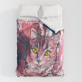 Cat Portrait, pink and purple shades, abstract acrylic painting Comforters