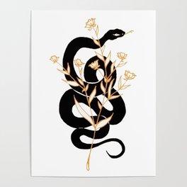 Black Snake with Golden Florals Design Poster