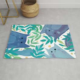 Cats and branches - blue and green Rug