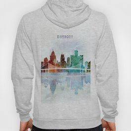 Detroit city skyline - watercolor Hoody