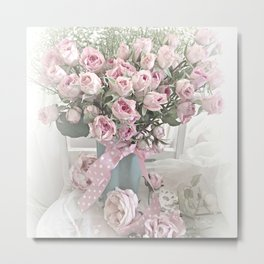 Pastel Roses In Vase - Shabby Chic Roses Pink Aqua Floral Print Home Decor Metal Print