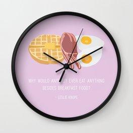 Leslie Knope Loves Breakfast Food Wall Clock