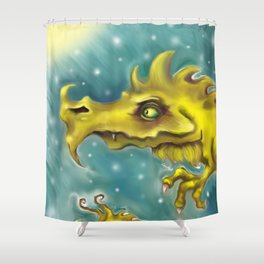Creepy Green Dragon Shower Curtain