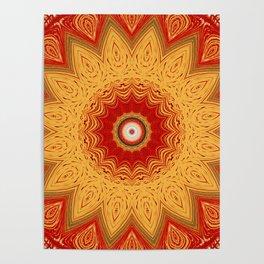 Bright Gold Orange Mandala Poster
