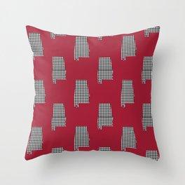 Bama crimson tide college state pattern print university of alabama varsity alumni gifts Throw Pillow