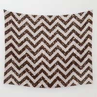 bisexual Wall Tapestries featuring Sparkling glitter chevron pattern - coffee IV by Better HOME
