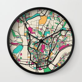 Colorful City Maps: Cincinnati, Ohio Wall Clock