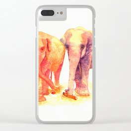 A couple of elephants Clear iPhone Case