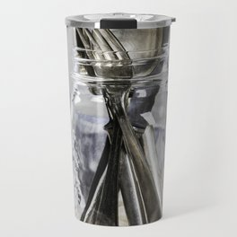 Forks spoons and knifes in a glass jar on grey vintage background Travel Mug