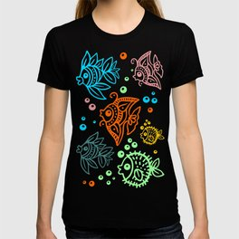 Fishes Batik Style Seamless Pattern T-shirt