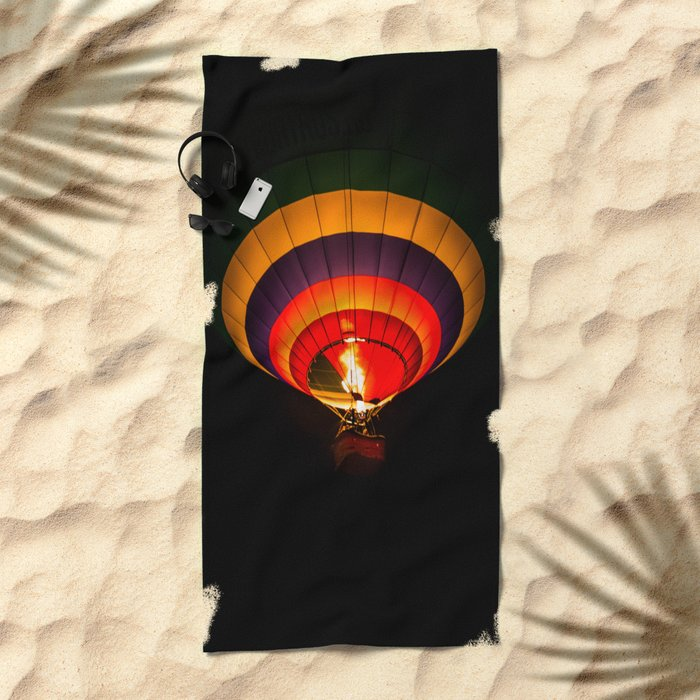 Night hot air balloon adventure Beach Towel