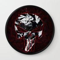 punisher Wall Clocks featuring Punisher 1 by Beastie Toyz