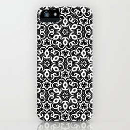 Black And White Floral Doodle Pattern iPhone Case