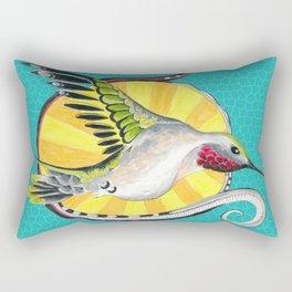 Hummingbird Sun Teal Ink Art Rectangular Pillow